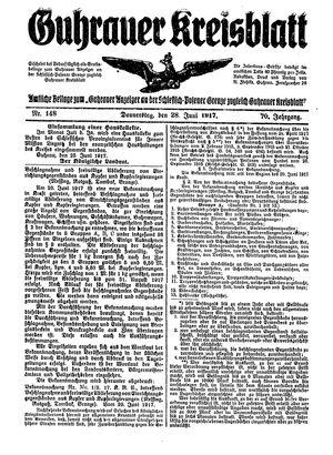Guhrauer Anzeiger an der Schlesisch-Posener Grenze vom 28.06.1917