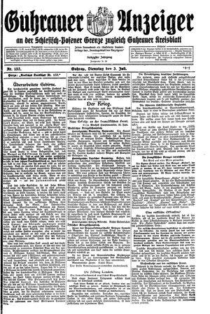 Guhrauer Anzeiger an der Schlesisch-Posener Grenze vom 03.07.1917