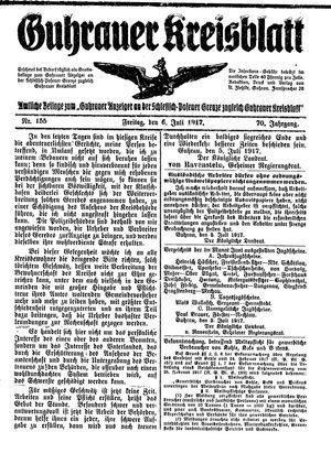 Guhrauer Anzeiger an der Schlesisch-Posener Grenze vom 06.07.1917