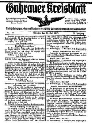 Guhrauer Anzeiger an der Schlesisch-Posener Grenze vom 10.07.1917