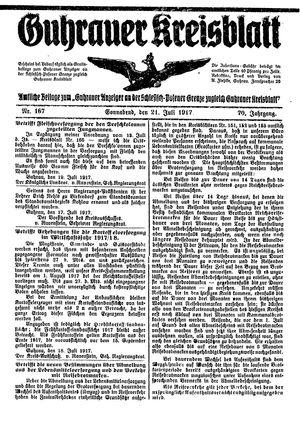 Guhrauer Anzeiger an der Schlesisch-Posener Grenze vom 21.07.1917