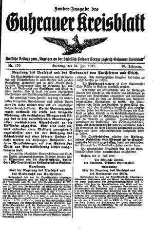 Guhrauer Anzeiger an der Schlesisch-Posener Grenze vom 24.07.1917