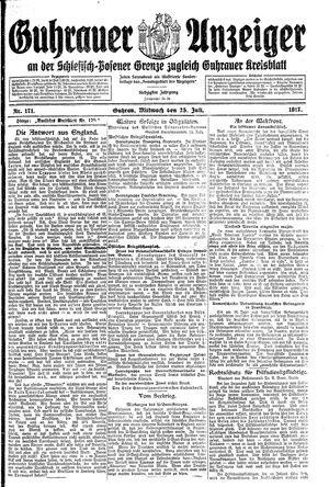 Guhrauer Anzeiger an der Schlesisch-Posener Grenze vom 25.07.1917
