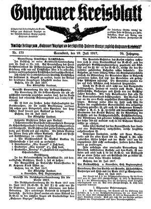 Guhrauer Anzeiger an der Schlesisch-Posener Grenze vom 28.07.1917