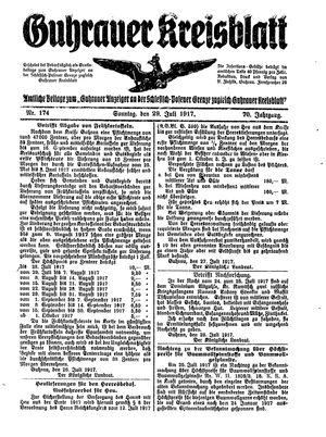 Guhrauer Anzeiger an der Schlesisch-Posener Grenze vom 29.07.1917