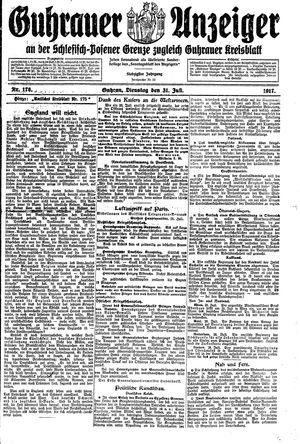 Guhrauer Anzeiger an der Schlesisch-Posener Grenze vom 31.07.1917