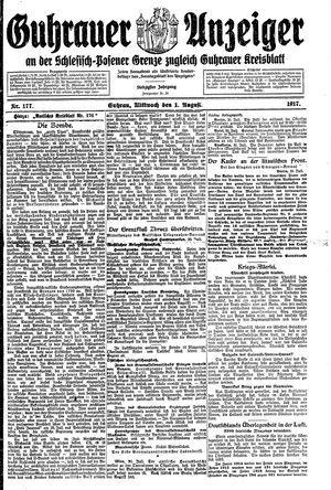 Guhrauer Anzeiger an der Schlesisch-Posener Grenze vom 01.08.1917