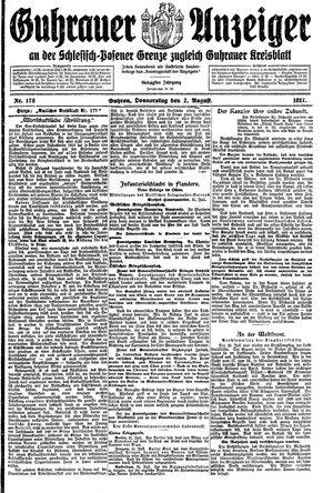 Guhrauer Anzeiger an der Schlesisch-Posener Grenze vom 02.08.1917
