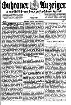 Guhrauer Anzeiger an der Schlesisch-Posener Grenze vom 03.08.1917
