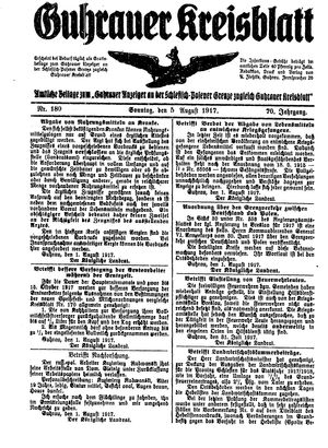 Guhrauer Anzeiger an der Schlesisch-Posener Grenze vom 05.08.1917