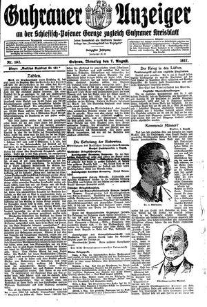 Guhrauer Anzeiger an der Schlesisch-Posener Grenze vom 07.08.1917
