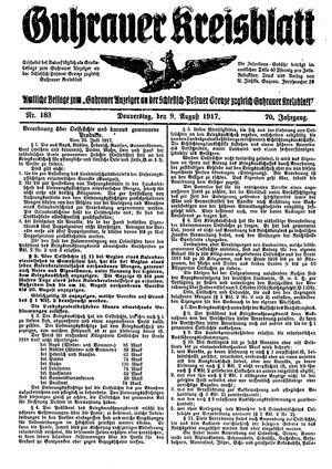 Guhrauer Anzeiger an der Schlesisch-Posener Grenze vom 09.08.1917