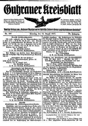 Guhrauer Anzeiger an der Schlesisch-Posener Grenze vom 14.08.1917