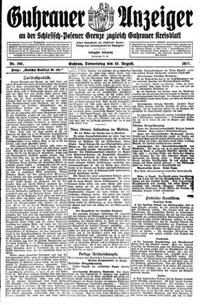 Guhrauer Anzeiger an der Schlesisch-Posener Grenze vom 16.08.1917