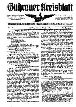 Guhrauer Anzeiger an der Schlesisch-Posener Grenze vom 17.08.1917