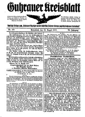 Guhrauer Anzeiger an der Schlesisch-Posener Grenze vom 18.08.1917
