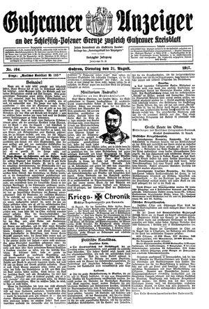 Guhrauer Anzeiger an der Schlesisch-Posener Grenze vom 21.08.1917