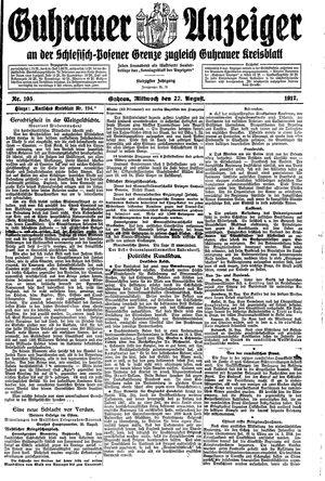 Guhrauer Anzeiger an der Schlesisch-Posener Grenze vom 22.08.1917