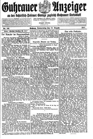 Guhrauer Anzeiger an der Schlesisch-Posener Grenze vom 23.08.1917