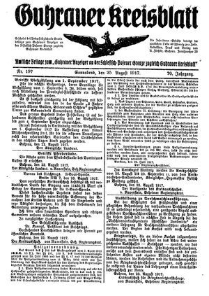 Guhrauer Anzeiger an der Schlesisch-Posener Grenze on Aug 25, 1917