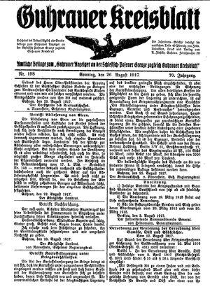Guhrauer Anzeiger an der Schlesisch-Posener Grenze vom 26.08.1917