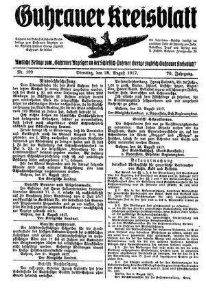 Guhrauer Anzeiger an der Schlesisch-Posener Grenze vom 28.08.1917