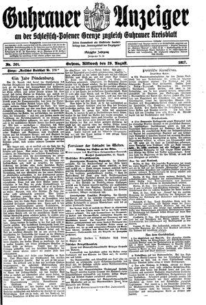 Guhrauer Anzeiger an der Schlesisch-Posener Grenze vom 29.08.1917