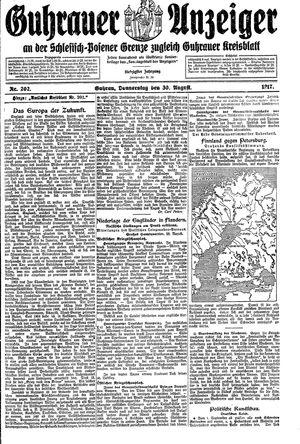 Guhrauer Anzeiger an der Schlesisch-Posener Grenze vom 30.08.1917
