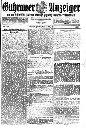 Guhrauer Anzeiger an der Schlesisch-Posener Grenze vom 31.08.1917