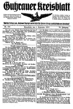 Guhrauer Anzeiger an der Schlesisch-Posener Grenze on Sep 1, 1917