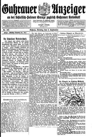 Guhrauer Anzeiger an der Schlesisch-Posener Grenze vom 02.09.1917