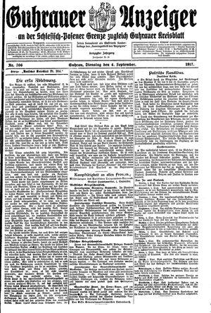 Guhrauer Anzeiger an der Schlesisch-Posener Grenze vom 04.09.1917