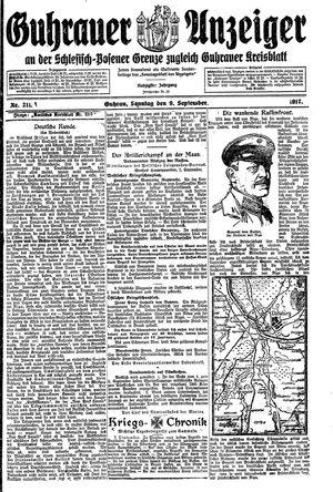 Guhrauer Anzeiger an der Schlesisch-Posener Grenze vom 09.09.1917