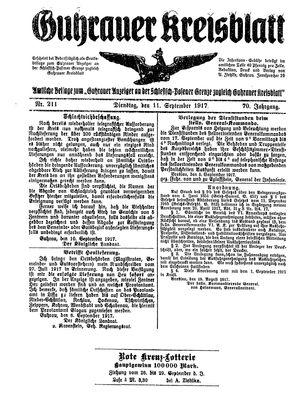 Guhrauer Anzeiger an der Schlesisch-Posener Grenze vom 11.09.1917