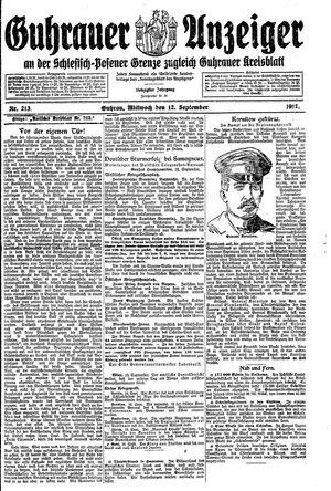 Guhrauer Anzeiger an der Schlesisch-Posener Grenze vom 12.09.1917
