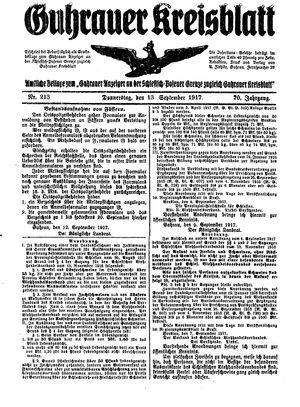 Guhrauer Anzeiger an der Schlesisch-Posener Grenze vom 13.09.1917