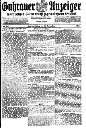 Guhrauer Anzeiger an der Schlesisch-Posener Grenze vom 14.09.1917