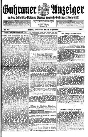 Guhrauer Anzeiger an der Schlesisch-Posener Grenze vom 15.09.1917