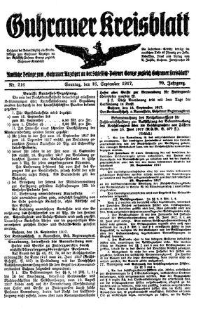 Guhrauer Anzeiger an der Schlesisch-Posener Grenze vom 16.09.1917