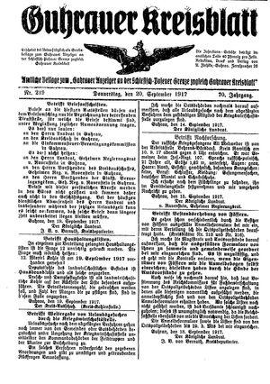 Guhrauer Anzeiger an der Schlesisch-Posener Grenze vom 20.09.1917