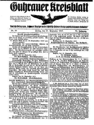 Guhrauer Anzeiger an der Schlesisch-Posener Grenze vom 21.09.1917