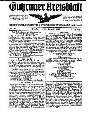 Guhrauer Anzeiger an der Schlesisch-Posener Grenze vom 22.09.1917