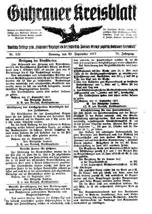 Guhrauer Anzeiger an der Schlesisch-Posener Grenze vom 23.09.1917