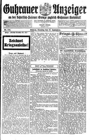 Guhrauer Anzeiger an der Schlesisch-Posener Grenze vom 25.09.1917