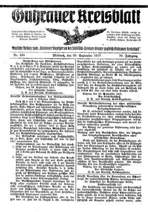 Guhrauer Anzeiger an der Schlesisch-Posener Grenze vom 26.09.1917