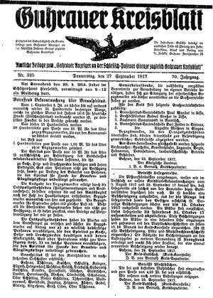 Guhrauer Anzeiger an der Schlesisch-Posener Grenze vom 27.09.1917
