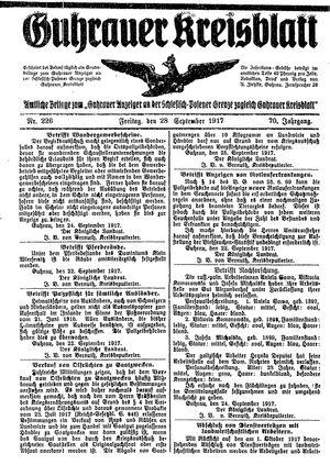 Guhrauer Anzeiger an der Schlesisch-Posener Grenze vom 28.09.1917