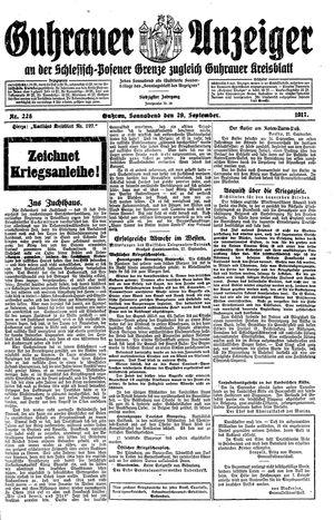 Guhrauer Anzeiger an der Schlesisch-Posener Grenze vom 29.09.1917