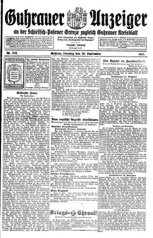 Guhrauer Anzeiger an der Schlesisch-Posener Grenze vom 30.09.1917