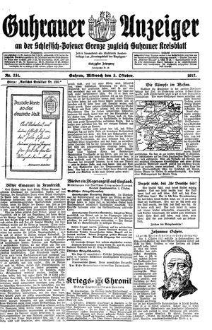 Guhrauer Anzeiger an der Schlesisch-Posener Grenze on Oct 3, 1917